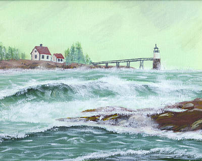 Painting Of Ram Island Lighthouse During Storm Art Print by Keith Webber Jr