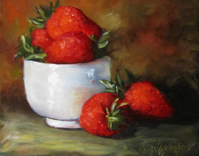 Painting Of Red Strawberries In Rice Bowl Art Print by Cheri Wollenberg