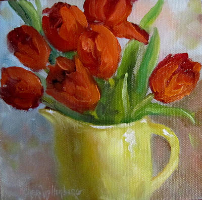 Painting Of Red Tulips Art Print by Cheri Wollenberg