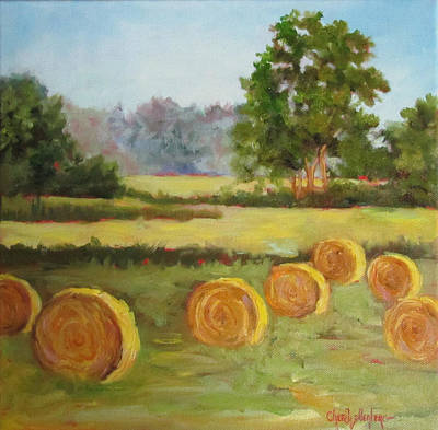 Bales Painting - Painting Of Round Hay Bales by Cheri Wollenberg