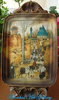 Decoupage Painting - Painting On Old Dish by Anoosheh