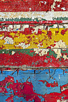 Paint Flakes Photograph - Painting Peeling Wall by Garry Gay