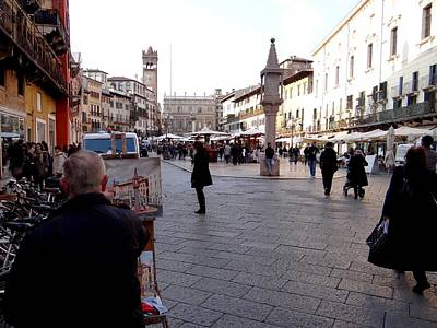 Photograph - Painting Piazza Delle Erbe by Keith Stokes