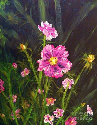 Painting Pink Streaked Cosmos Art Print by Judy Via-Wolff