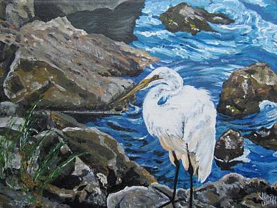 Painting - Painting  Sharon's Heron On The Rocks by Judy Via-Wolff