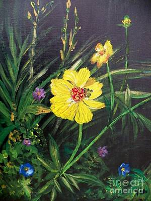 Painting - Painting Yellow Cosmos by Judy Via-Wolff