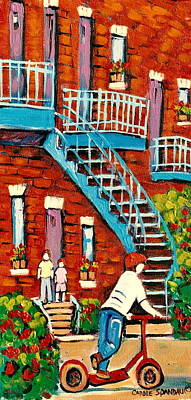 Montreal Painting - Paintings Of Heritage Montreal Summer Staircases City Scenes by Carole Spandau
