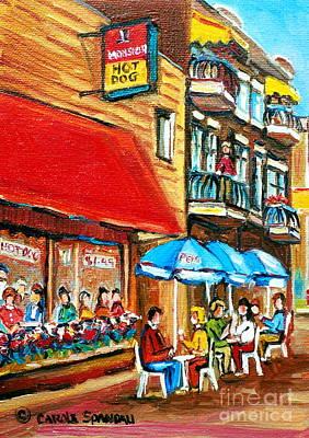 Montreal Landmarks Painting - Paintings Of Montreal Landmarks Monsieur Hotdog Sherbrooke And Monkland Street Scene by Carole Spandau
