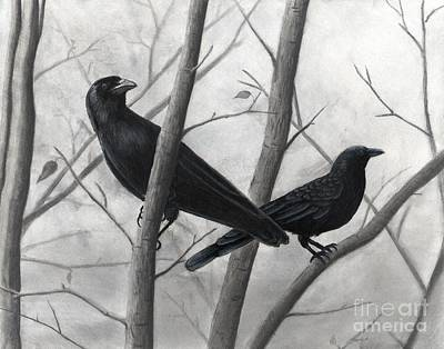Drawing - Pair Of Crows by Christian Conner