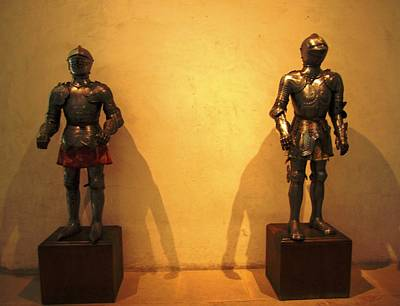 Photograph - Pair Of Old Knight Riders In Segovia Castle Spain by John Shiron
