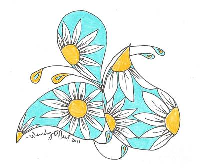 Daisy Drawing - Paisley Daisy by Wendy ONeil