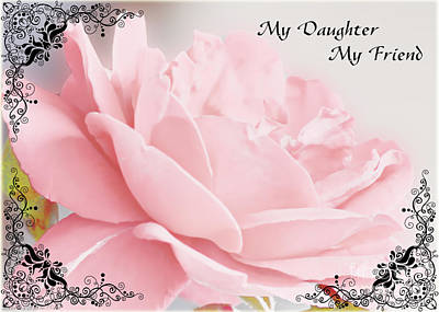 Photograph - Pale Pink Rose Greeting Card Daughter by Debbie Portwood