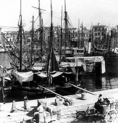 Crowd Scene Photograph - Palermo Sicily - Shipping Scene At The Harbor by International  Images