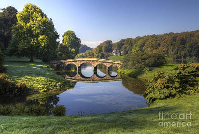Palladian Bridge At Stourhead. Art Print by Clare Bambers