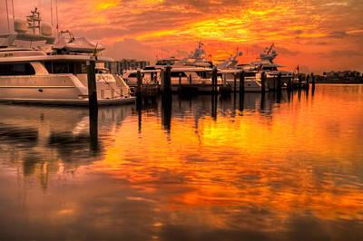Palm Beach Harbor Glow Art Print by Debra and Dave Vanderlaan