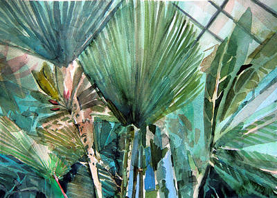 Rain Drawing - Palm Light by Mindy Newman