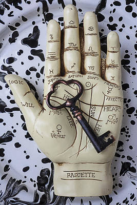 Gypsy Photograph - Palm Reading Hand And Key by Garry Gay