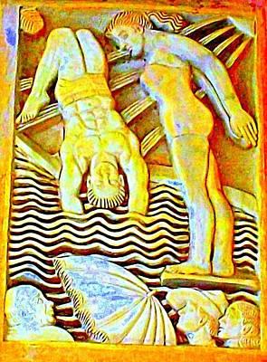 Palm Springs Swimmer Mural Art Print by Randall Weidner