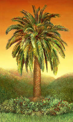 Painting - Palm Tree At Dawn In Rust by Nancy Tilles
