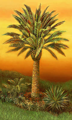 Painting - Palm Tree At Dusk In Rust by Nancy Tilles