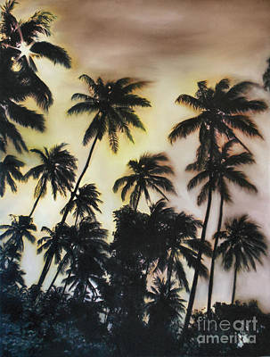 Large Painting - Palm Tree Sky by Michelle Iglesias