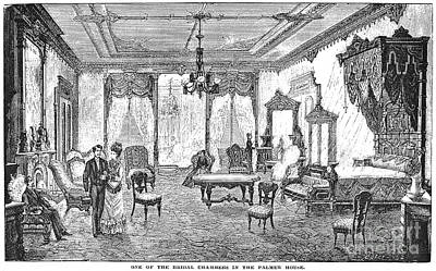 Bridal Suite Photograph - Palmer House Hotel, 1878 by Granger