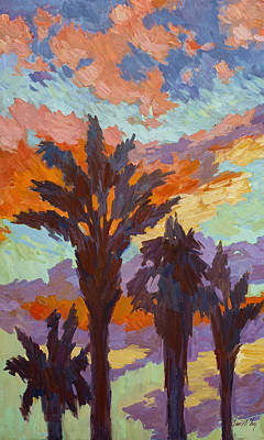 Canary Painting - Palms And Sunrise by Diane McClary