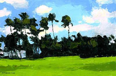 Palms At Kapiolani Park Art Print by Douglas Simonson