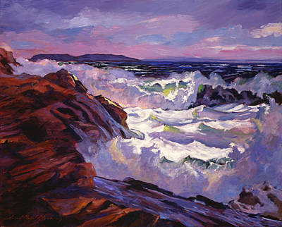 Winter Storm Painting - Palos Verdes Beach by David Lloyd Glover