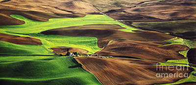 Palouse Farm Country Art Print by Dennis Flaherty and Photo Researchers