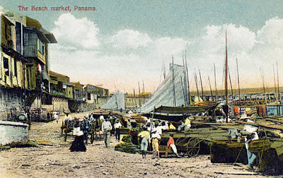 Panama City: Beach Market Art Print by Granger