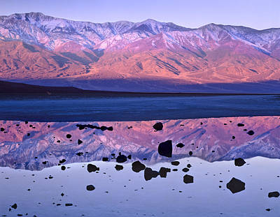 Mountain Valley Photograph - Panamint Range Reflected In Standing by Tim Fitzharris