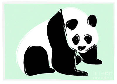 Panda On Green Art Print by Michelle Bergersen