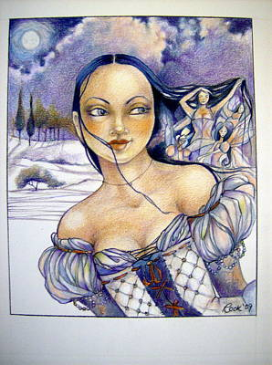 Moon Fairies Blue Snow Woman Drawing - Pandora by Jackie Rock