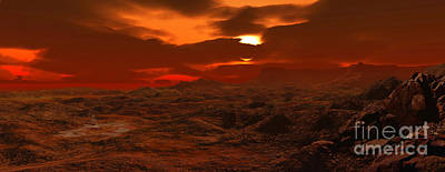 Surrealism Digital Art - Panorama Of A Landscape On Venus by Ron Miller
