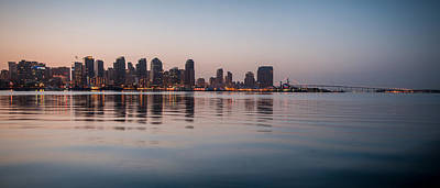 Photograph - Panorama San Diego Skyline And Coronado Bridge Sunrise by Connie Cooper-Edwards