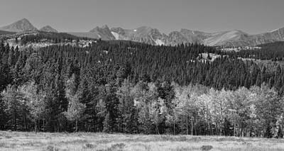 Photograph - Panorama Scenic Autumn View Of The Colorado Indian Peaks Bw by James BO Insogna