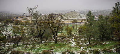 Photograph - Panorama Train Loop Snow by Connie Cooper-Edwards