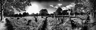 Panoramic Cemetery Bw Art Print by Maria Tzamtzi