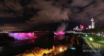 Waterfall Photograph - Panoramic Night View Of Niagara Falls by Oleksiy Maksymenko
