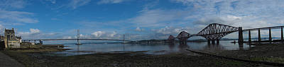 Photograph - Panoramic Of The Forth Road And Rail Bridges In Scotland. by Zoe Ferrie
