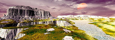 Three Rivers Digital Art - Panoramic View Be There Digitally Generated by Raj Kamal