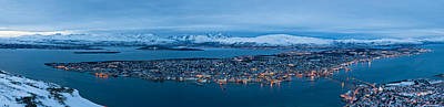 Snowy Night Photograph - Panoramic View Of Tromso In Norway  by U Schade