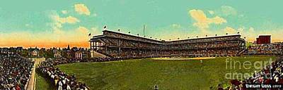 Painting - Panoramic Viw Of Forbes Field In Pittsburgh Pa In 1909 by Dwight Goss
