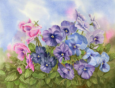 Pansies Art Print by Leona Jones