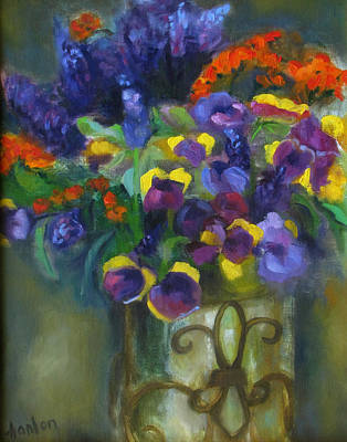 Pansies Art Print by Susan Hanlon