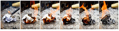 On Paper Photograph - Paper Burning Sequence by Photo Researchers