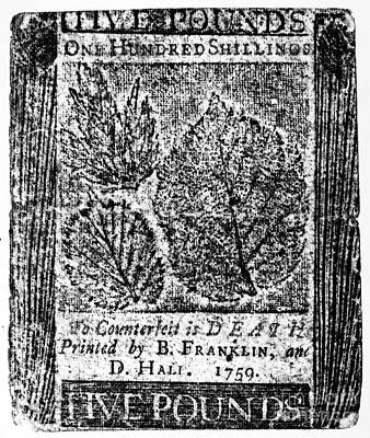 1759 Photograph - Paper Currency, 1759 by Granger