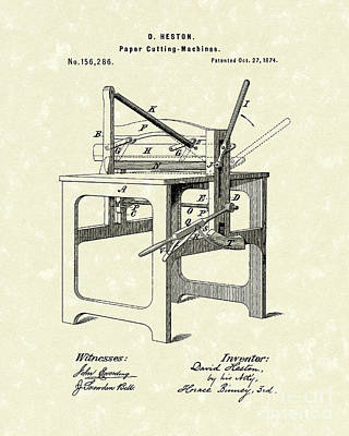 Drawing - Paper Cutter 1874 Patent Art by Prior Art Design