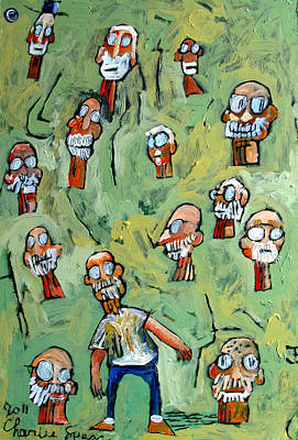 Artist Self Portrait Painting - Paper Heads by Charlie Spear